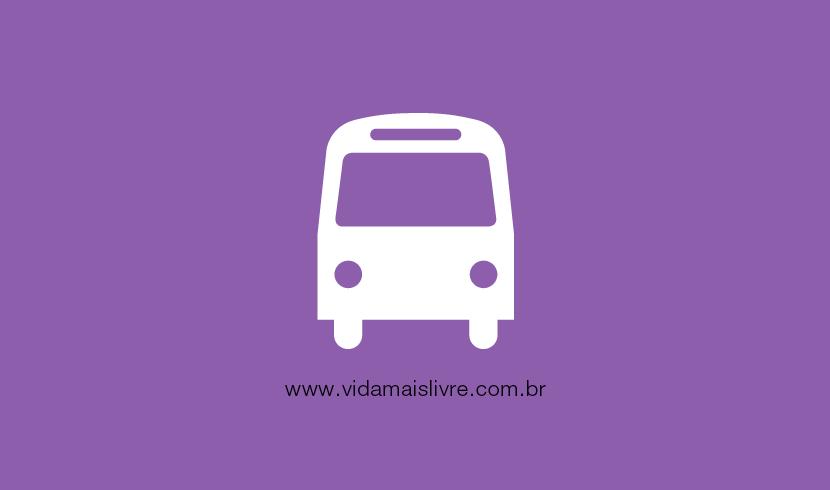 Em fundo roxo, ícone que representa um ônibus
