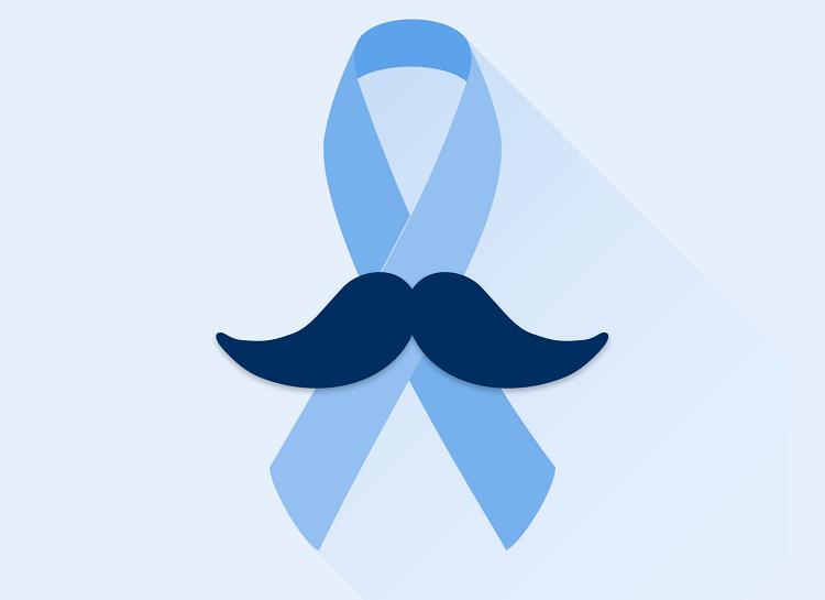 Foto do laço azul que representa a campanha do câncer de próstata. Há um bigode sobre o laço