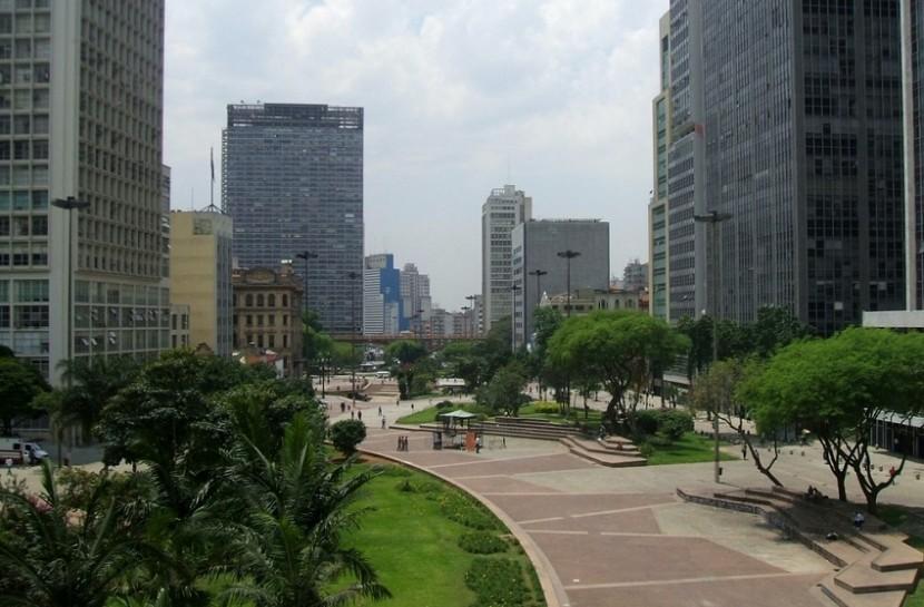Foto aérea do Vale do Anhangabaúm, em São Paulo