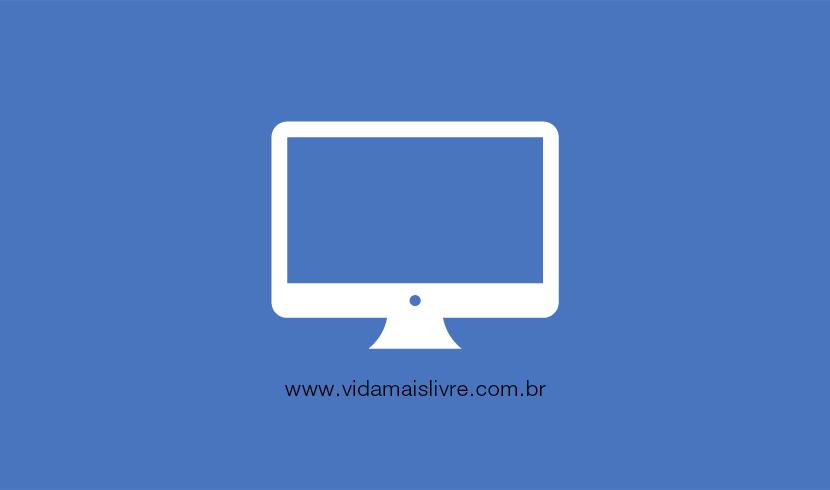 Em fundo azul, ícone branco que representa um monitor de computador