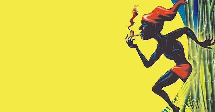 Ilustração em fundo amarelo do Saci Pererê fumando um cachimbo. Ele é negro, usa gorro e touca vermelhas e está de perfil, no lado direito