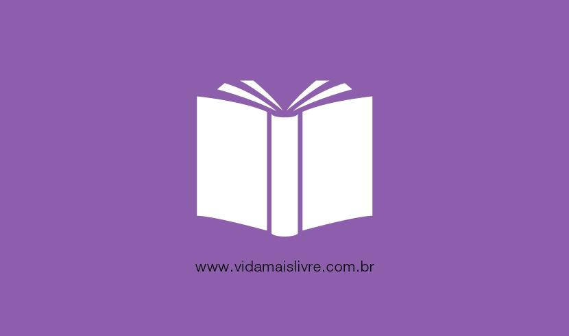 Em fundo roxo, ícone branco que representa um livro