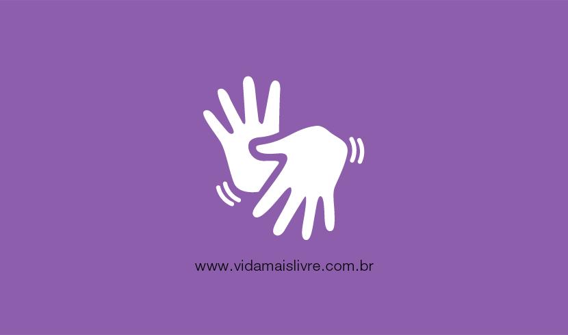 Em fundo roxo, ícone branco com duas mãos gesticulando e representa Libras