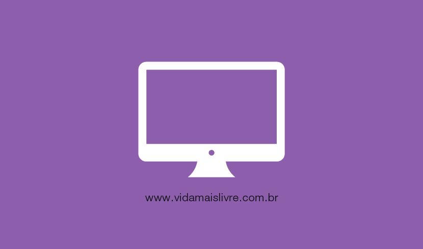 Em fundo roxo, ícone que representa um computador
