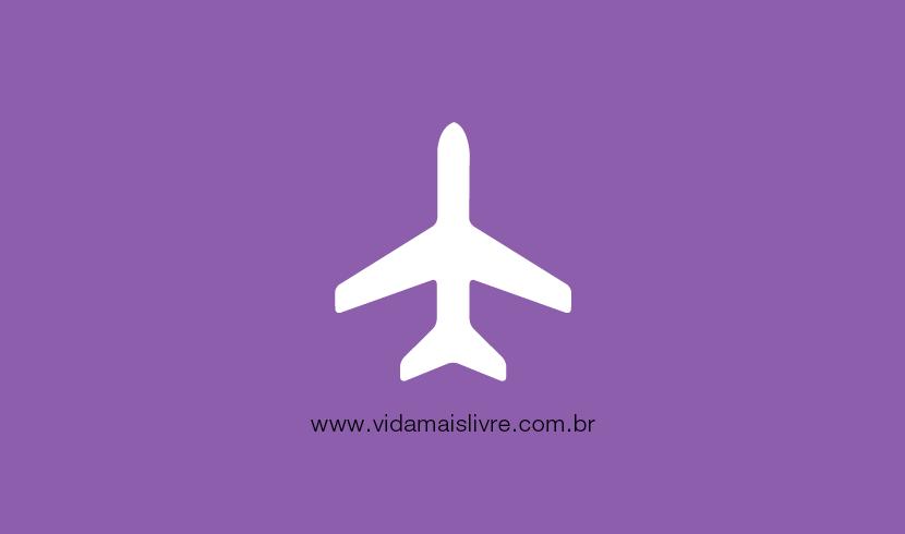 Fundo roxo com ícone de um avião em branco
