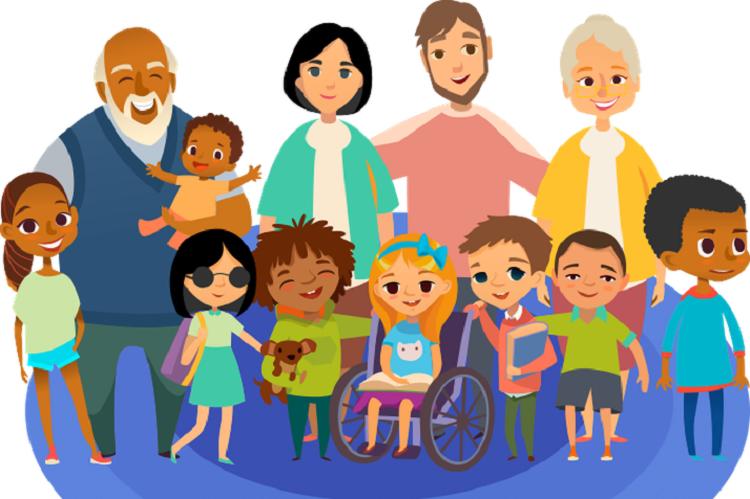 Ilustração lúdica de pessoas de diversas idades juntas. À frente, há crianças diversas, sendo uma cadeirante, uma cega e um menino com Síndrome de Down