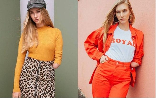 Montagem com duas fotos da modelo Kelly Knox, que é loira e é amputada do braço direito. Em uma das fotos, ela veste uma boina, uma malha amarela de manga comprida e uma saia com estampa de onça. Na outra imagem, está usando uma camiseta branca com a palavra royal e uma jaqueta e calça comprida na mesma cor laranja