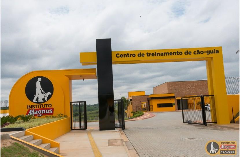 Foto em plano aberto da fachada do Instituto Magnus, com estruturas em amarelo e preto