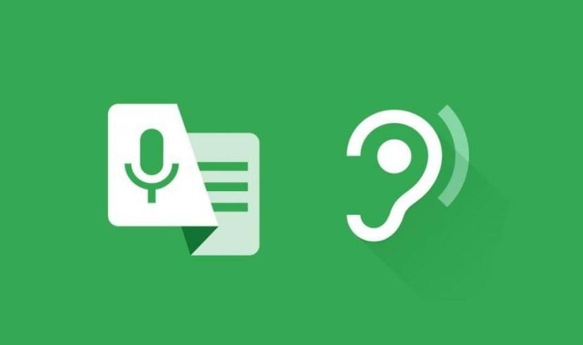 Em fundo verde, ícones em branco de um microfone, que indica a voz, e outro de uma orelha, indicando a audição