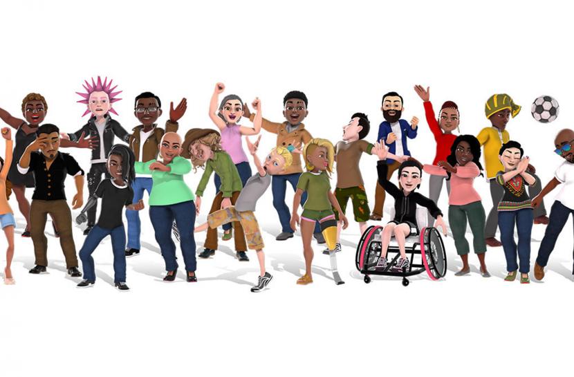 Arte digital com avatares do console Xbox. Há um grupo de pessoas, com cadeirantes, crianças e adultos de diferentes estilos