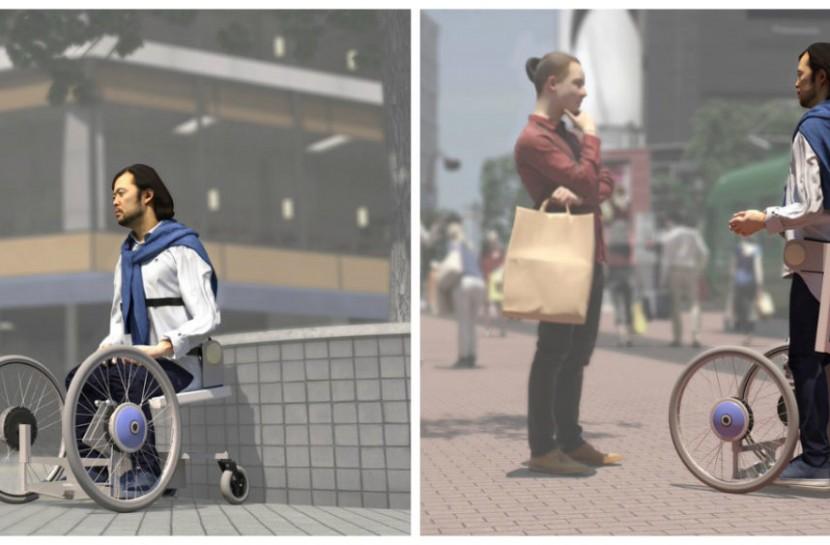 Figura com duas artes em 3D simulando o uso do novos projeto de cadeira de rodas, à esquerda, e exoesqueleto, à direita