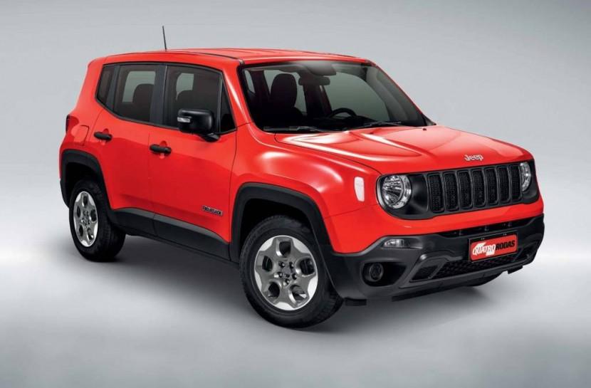 Foto do Jeep Renegade, modelo da categoria SUV, na cor vermelha
