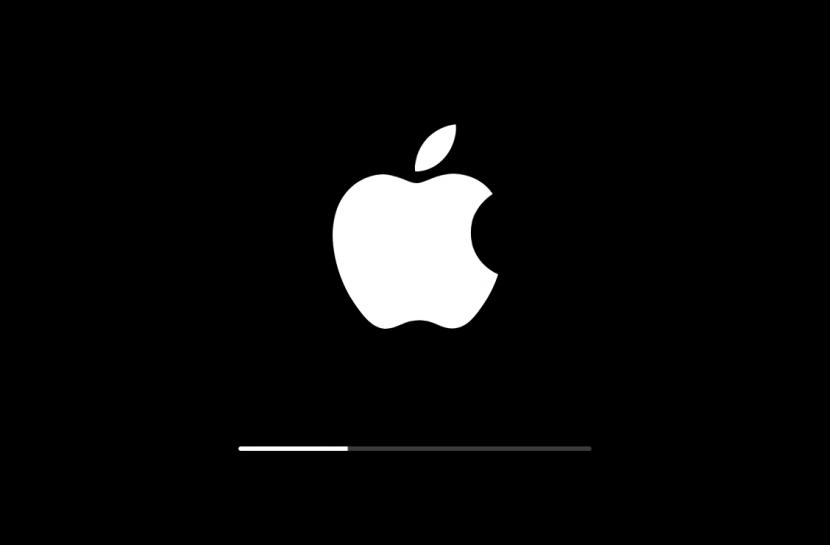 Tela preta com o logotipo da Apple, uma maçã mordida, em branco. Há uma barra de carregamento, indicando atualização